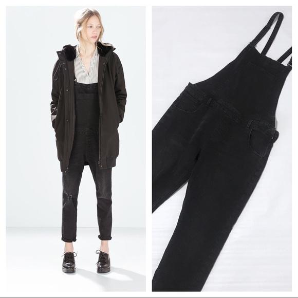 1ff59e86a107 Zara overalls Black distressed M medium. M 5a7cf4f23afbbd2b16a3fdb6